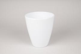 A051A8 Cache-pot en céramique blanc D16.5cm H18.5cm