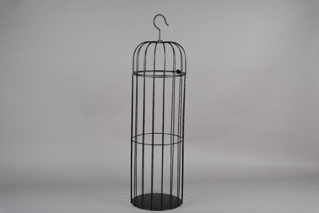A051AY Cage en métal noir D30cm H109cm