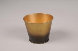 A051JY Cache-pot en métal or noir D9cm H7.5cm