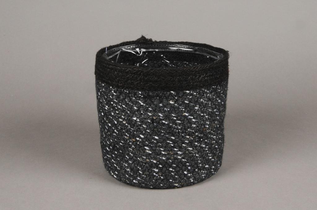 A051M5 Cache-pot en jute noir D18cm H18cm