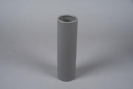 A051WV Vase en céramique gris D8cm H28cm