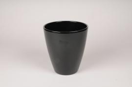 A052A8 Cache-pot en céramique noir D16.5cm H18.5cm