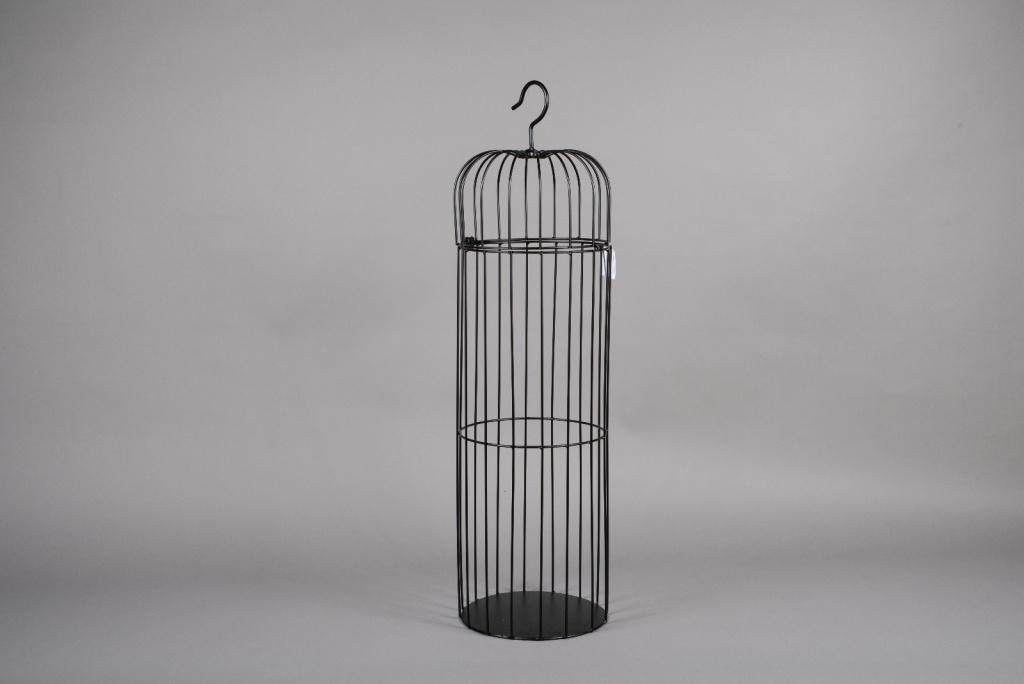 A052AY Cage en métal noir D25cm H90cm