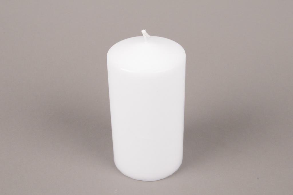 A052E2 Boîte de 6 bougies cylindre blanc D8cm H15cm