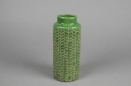 A052IH Green ceramic vase D9cm H21cm
