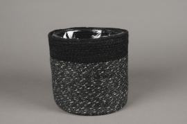 A052M5 Cache-pot en jute noir D16cm H16cm