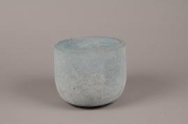 A052TN Cache-pot en terre cuite bleu D17cm H15cm