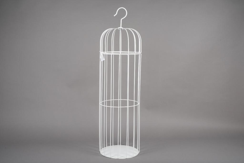 A053AY Cage en métal blanc D30cm H109cm