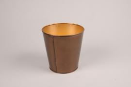 A053JY Gold metal planter D10cm H10cm