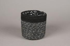 A053M5 Cache-pot en jute noir D14cm H14cm