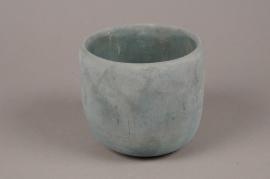 A053TN Cache-pot en terre cuite bleu D14cm H13cm