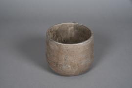 A053U0 Cache-pot en béton gris nacré D18cm H14cm