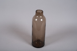 A053W3 Vase en verre marron avec col D14cm H39cm