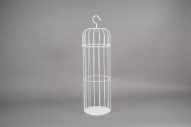 A054AY Cage en métal blanc D25cm H90cm