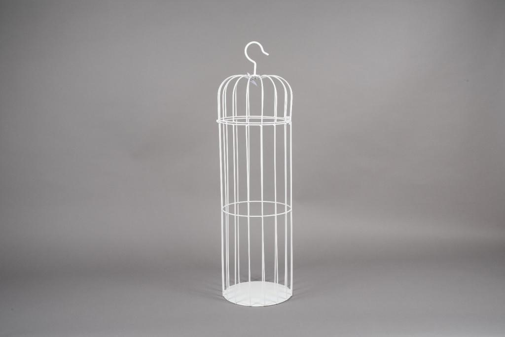 A054AY White metal cage D25cm H90cm