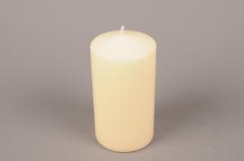 A054E2 Boîte de 6 bougies cylindre ivoire D8cm H15cm