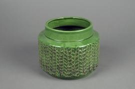 A054IH Green ceramic vase D18cm H13.5cm