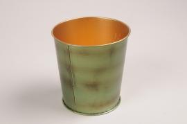 A054JY Cache-pot en métal vert D10cm H10cm