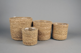 A054M5 Set de 4 cache-pots en jonc de mer D21cm H20cm