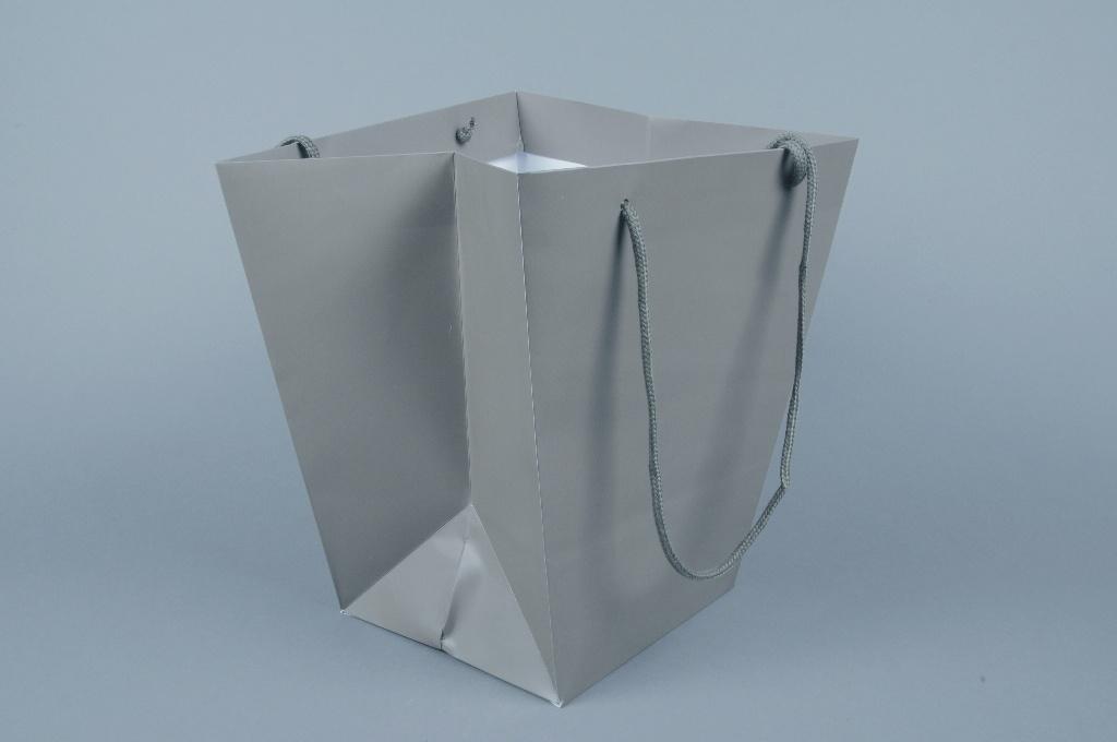 A054QX Paquet de 10 sacs trapèze taupe 25x25cm H29cm