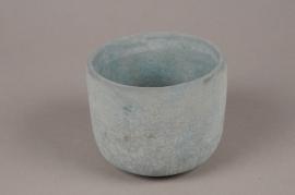 A054TN Cache-pot en terre cuite bleu D12.5cm H10.5cm