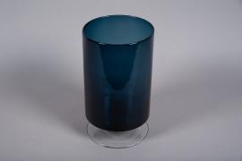 A054W3 Vase verre bleu D19.5cm H34cm