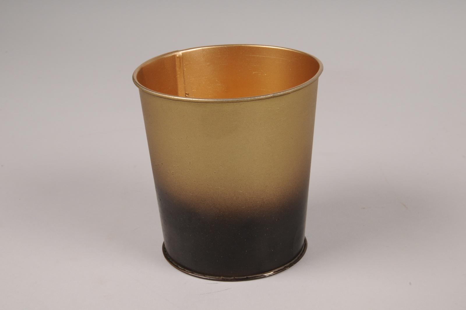 A055JY Cache-pot en métal or noir D9.5cm H10cm