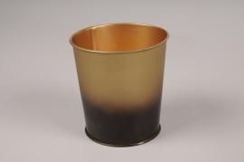 A055JY Gold metal planter D9.5Cm H10cm