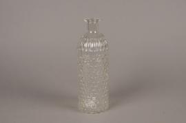 A055R4 Vase en verre bouteille D8cm H25cm