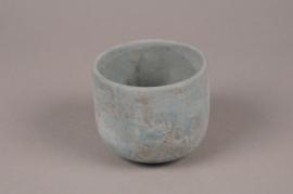 A055TN Cache-pot en terre cuite bleu D11cm H9.5cm