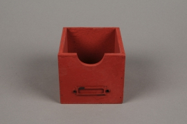 A055U7 Cache-pot tiroir en bois patiné rouge 12x12cm H9cm
