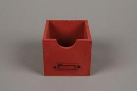 A055U7 Pot red patinated wood 12x12cm H9 cm