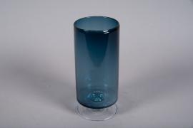 A055W3 Vase verre bleu D12cm H28.5cm