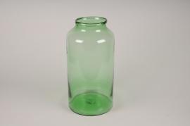 A056IH Vase cylindre en verre vert D22cm H43cm