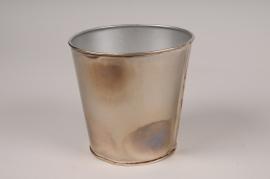 A056JY Cache-pot en métal oxydé D12cm H11.5cm