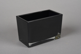 A056R4 Jardinière en verre noir 8.5x15cm H10cm