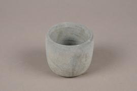 A056TN Cache-pot en terre cuite bleu D7.5cm H7cm