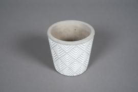 A056U0 Cache-pot en béton géométrique blanc D11cm H10cm
