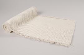 A056VB Chemin de table coton blanc 30cm x 140cm