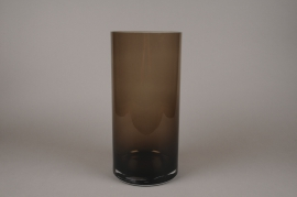 A056W3 Brown glass cylinder vase D19cm H40cm