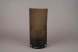 A056W3 Brown glass cylinder vase D19cm H40cm