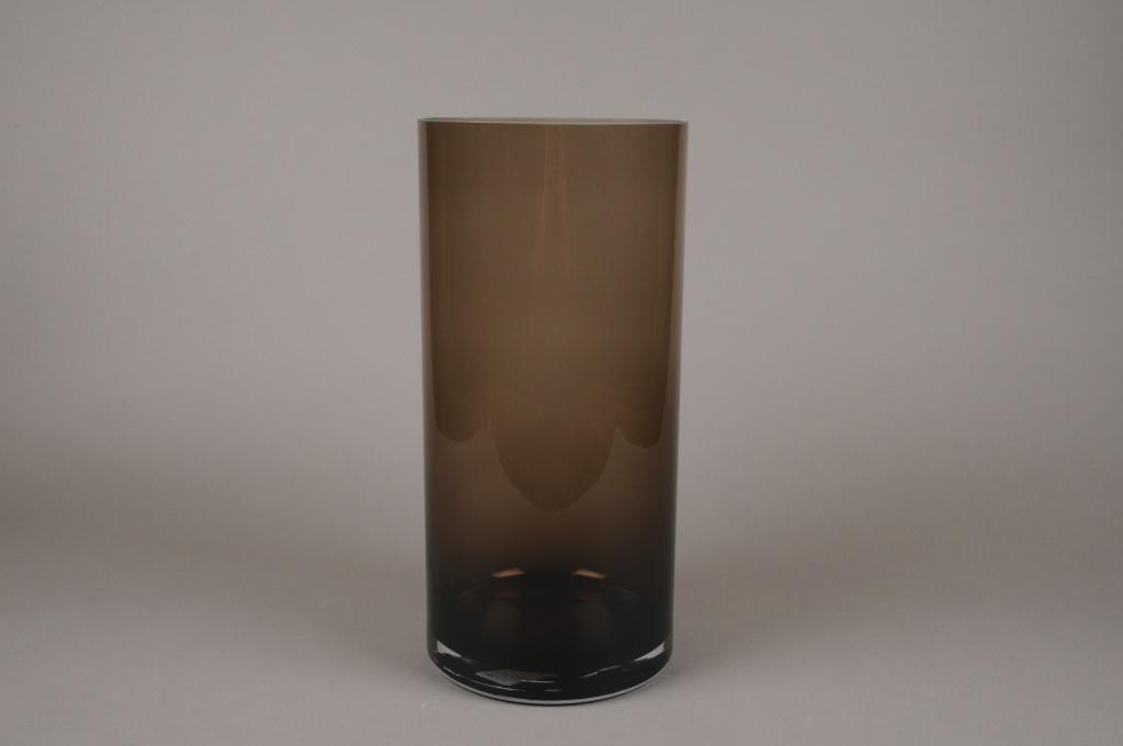 A056W3 Vase cylindre en verre marron D19cm H40cm