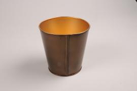 A057JY Gold metal planter D12cm H12cm