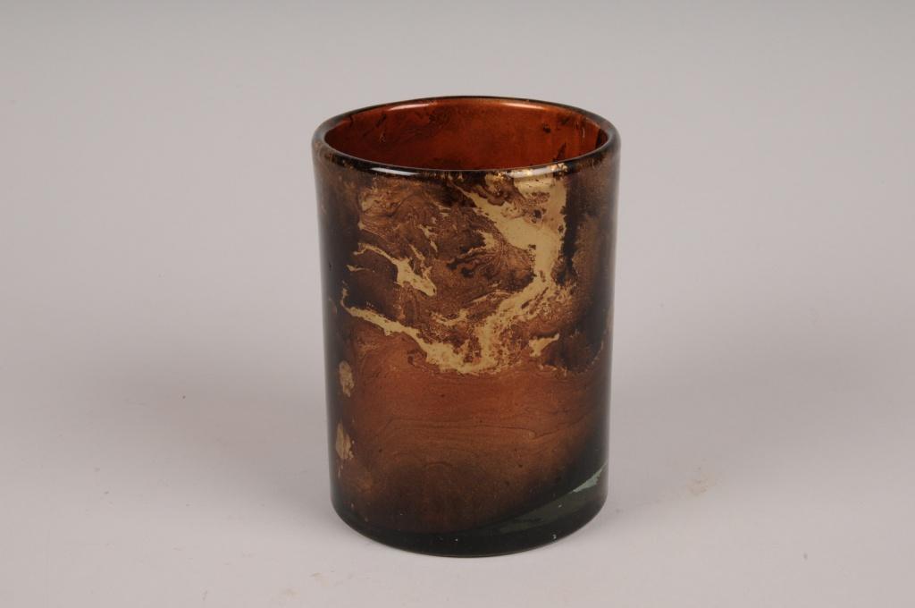 A057LE Photophore en verre bordeaux et or D10cm H14cm