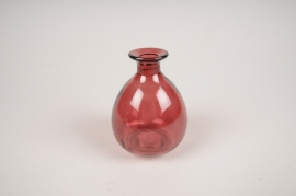 A057NH Vase en verre framboise D9cm H12cm