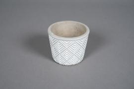 A057U0 Cache-pot en béton géométrique blanc D10cm H9cm
