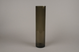 A057W3 Smoked glass cylinder vase D10cm H43.5cm