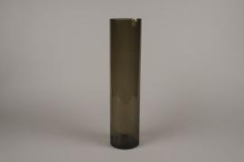 A057W3 Vase cylindre en verre fumé D10cm H43.5cm