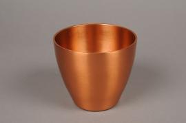 A058E6 Copper metal planter pot D12.5cm H11cm