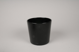 A058IH Black glass vase D17cm H16cm